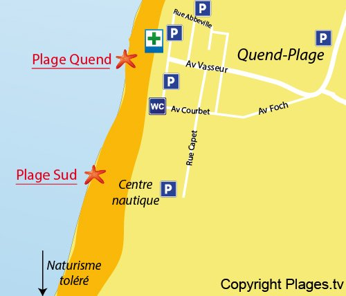 Map of South Beach in Quend