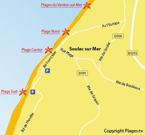 Plan de la plage Sud de Soulac sur Mer