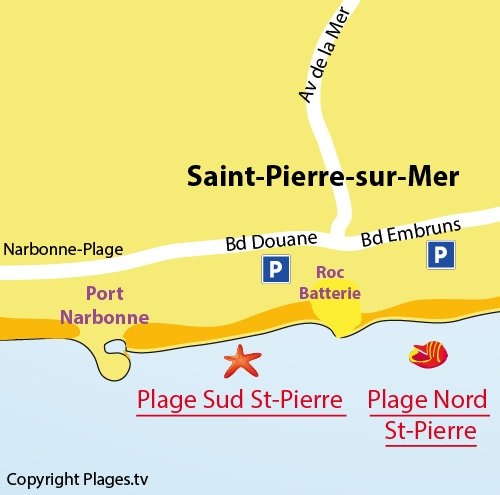 Map of Saint Pierre sur Mer South Beach