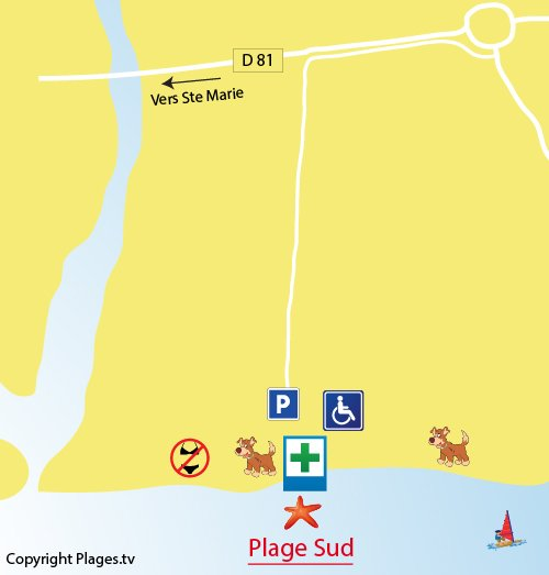 Map of Sud Beach in Torreilles