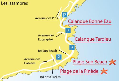 Plan de la plage Sun Beach - Les Issambres - Var
