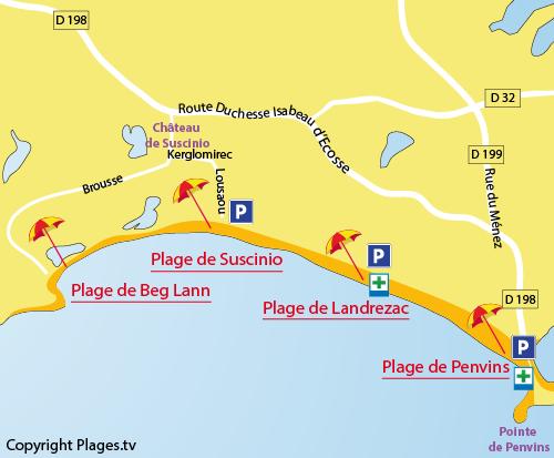 Plan de la plage de Suscinio à Sarzeau