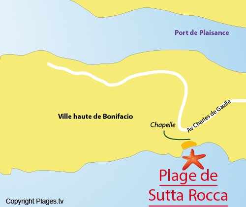Map of Sutta Rocca Beach in Bonifacio