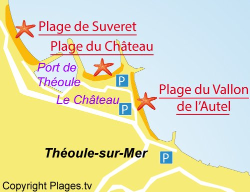 Map of Suveret Beach in Théoule sur Mer