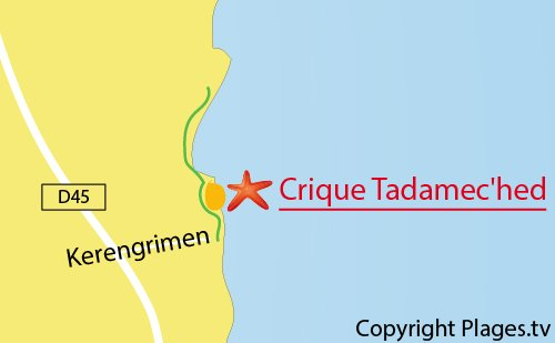 Carte de la plage de Tadamec'hed à Fouesnant