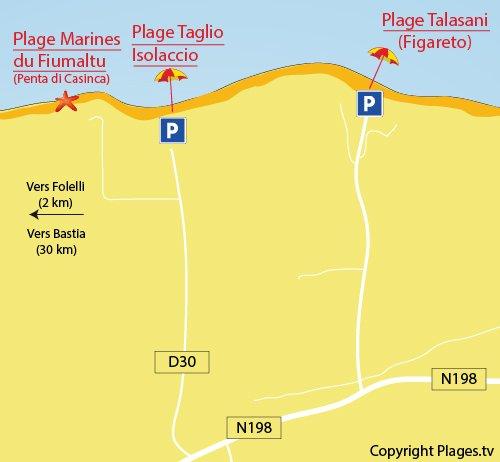 Carte de la plage de Taglio Isolaccio en Corse