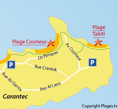 Map of Tahiti Beach in Carantec