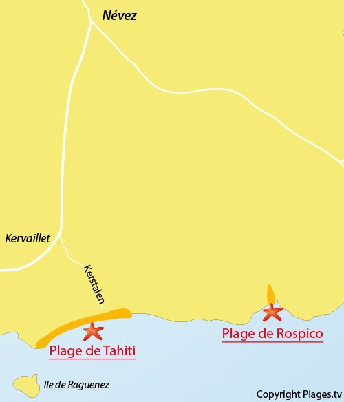 Carte de la plage de Tahiti à Névez