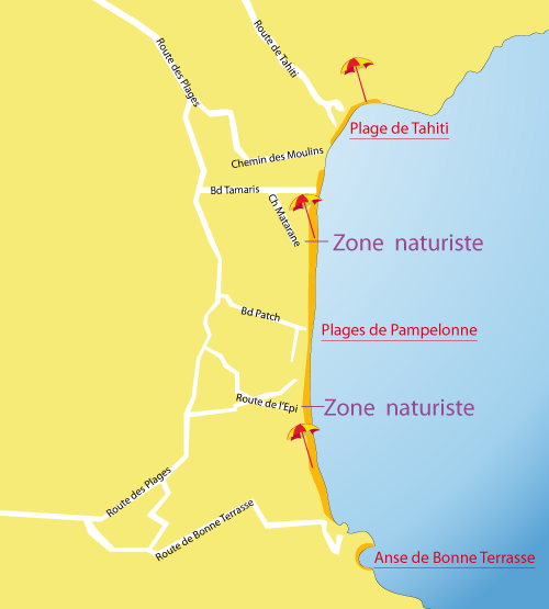 Map of Tahiti Beach in Ramatuelle - France