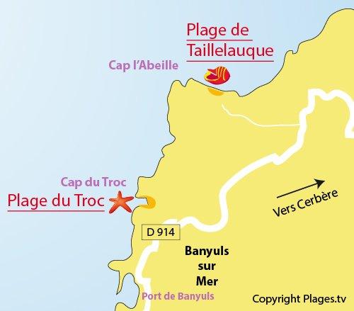 Mappa della Spiaggia di Taillelauque a Banyuls sur Mer