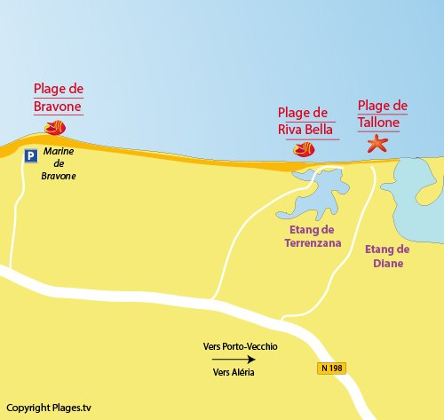 Map of Tallone in Linguizzetta - Corsica