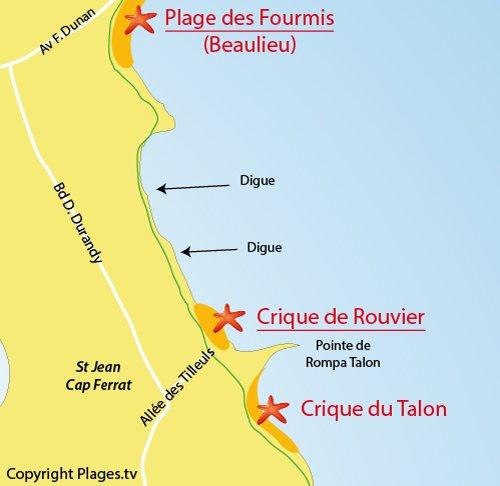 Map of Talon Beach in Saint Jean Cap Ferrat