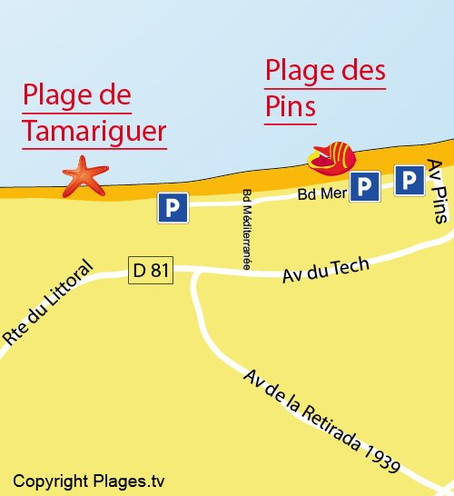 Mappa della Spiaggia di Tamariguer a Argelès