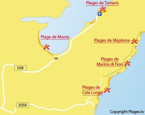 Carte de la plage des Tamaris à Bonifacio