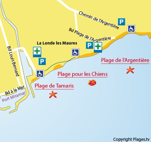 Map of Tamaris Beach in La Londe les Maures