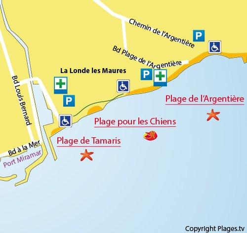 Map of Tamaris Beach in La Londe les Maures