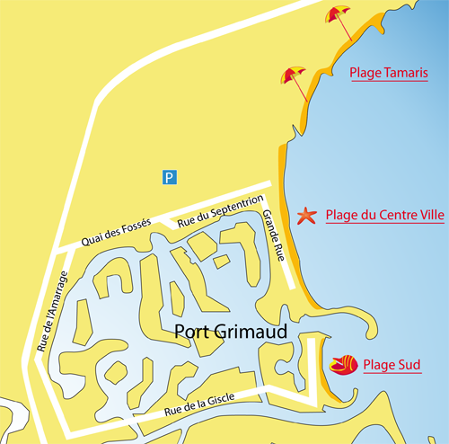 Map of Tamaris Beach in Port Grimaud