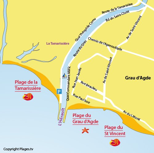 Map of Tamarissiere Beach in Grau d'Agde