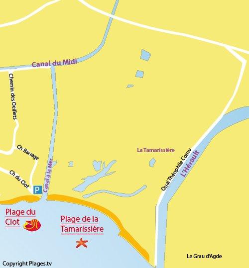 Plan de la plage de la Tamarissière à Vias