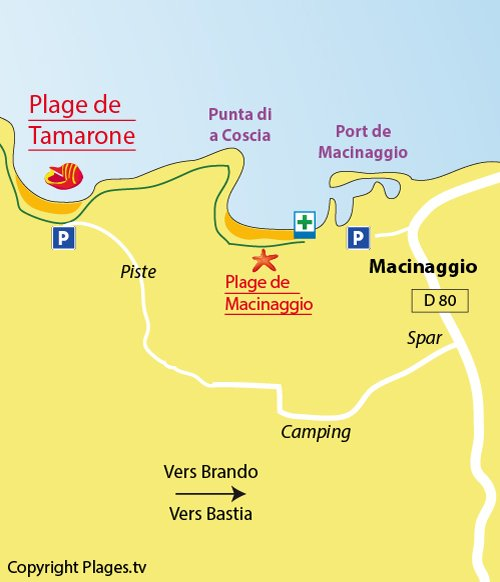 Plan de la plage de Tamarone à Macinaggio - Cap Corse