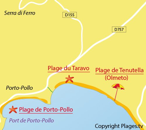 Map of Taravo Beach in Porto Pollo