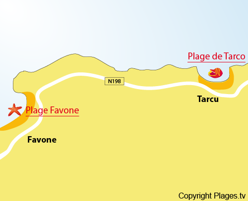 Carte de la plage de Tarco - Corse