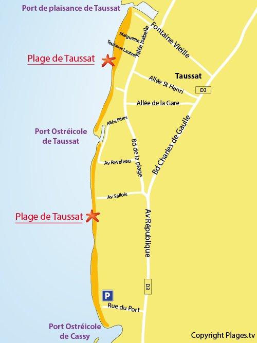 Carte de la plage de Taussat à Lanton