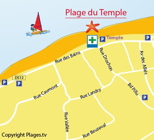Map of Temple Beach in Houlgate