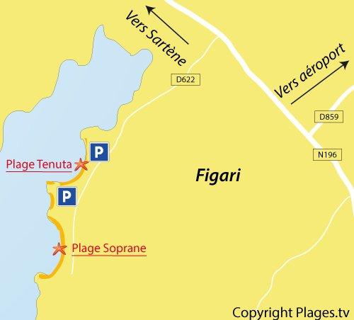 Plan de la plage de Tenuta à Figari