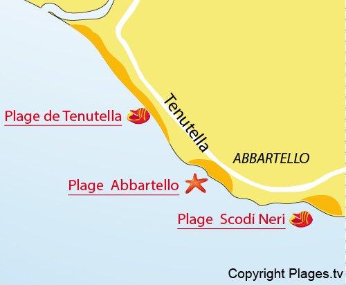 Mappa della Spiaggia di Tenutella a Olmeto