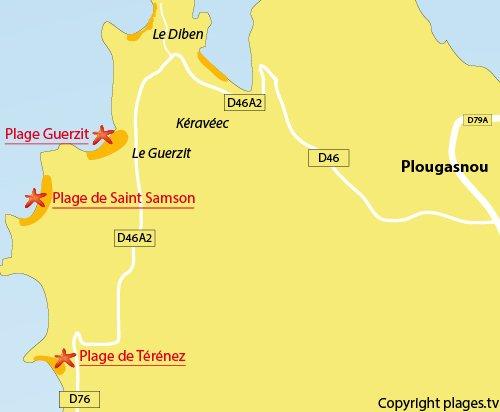 Carte de la plage de Térénez de Plougasnou