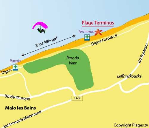 Map of the Terminus Beach in Malo les Bains