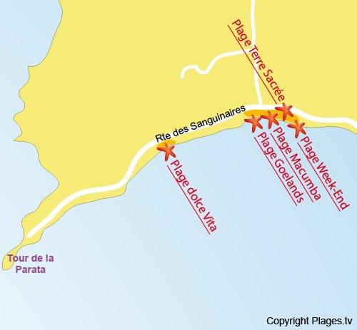Map of Terre Sacrée Beach in Ajaccio