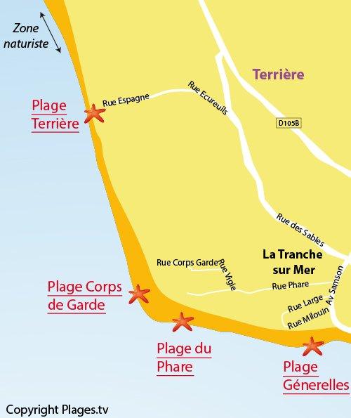 Map of Terrière beach in La Tranche sur Mer