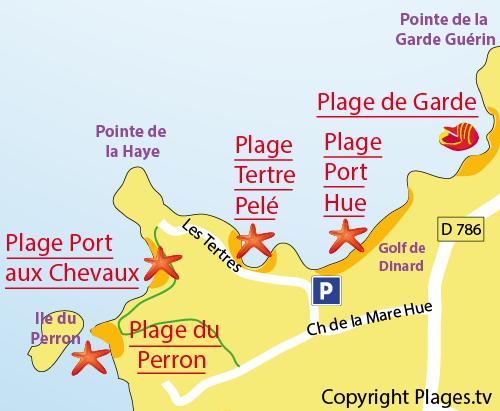 Map of Tertre Pelé Beach in St Briac sur Mer