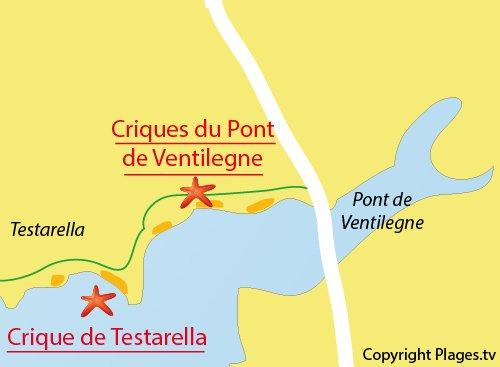 Carte de la crique de Testarella à Bonifacio