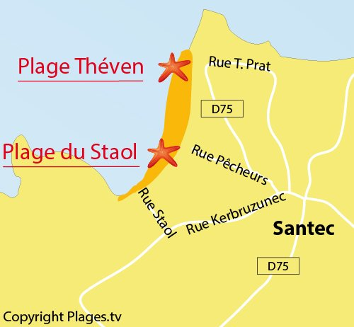 Map of Theven Beach in Santec