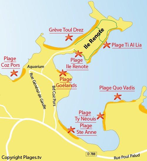Plan de la plage et des criques de Ti Al Lia sur l'Ile Renote à Trégastel