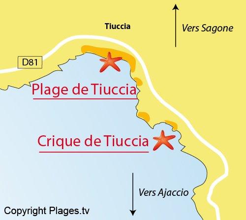 Carte de la plage de Tiuccia à Casaglione