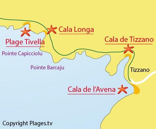 Plan de la plage de Tivella de Sartène