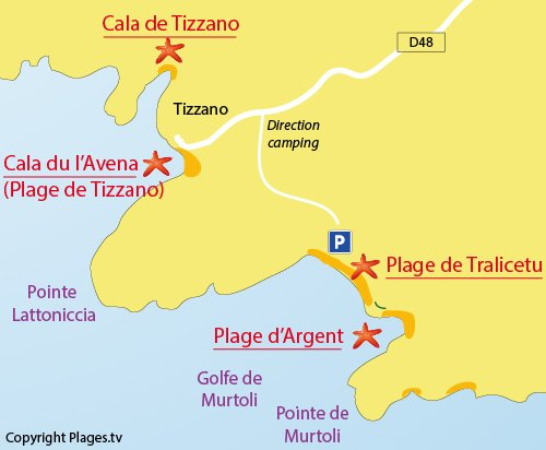 Map of Cala d'Avena Beach in Sartene