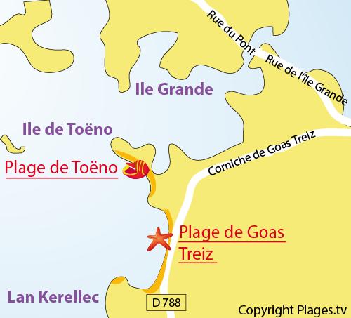 Carte de la plage de Toeno à Trébeurden
