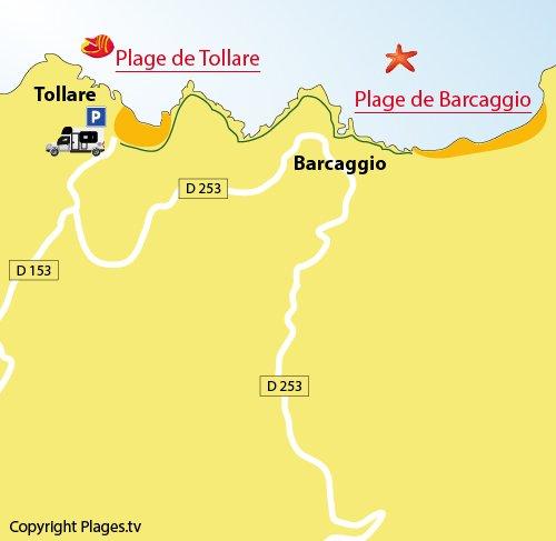 Plan de la plage de Tollare dans le Cap Corse