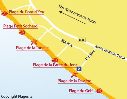 Plan de la plage de la Tonelles à St Jean de Monts