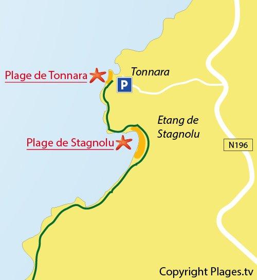 Plan de la plage de Tonnara de Bonifacio
