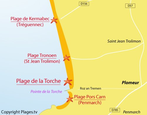 Carte de la plage de la Torche à Plomeur