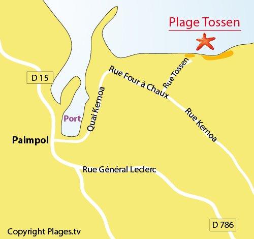 Plan de la plage du Tossen à Paimpol