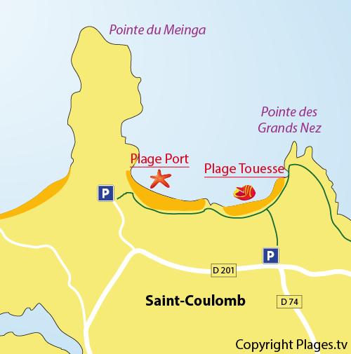 Plan de la plage de la Touesse de Saint Coulomb