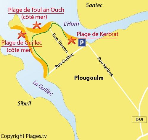 Carte de la plage de Kerbrat à Plougoulm