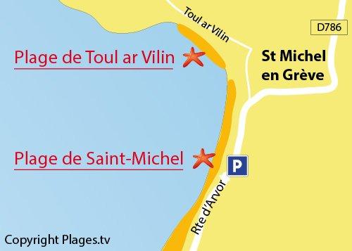 Carte de la plage de Toul ar Vilin à St Michel en Grève